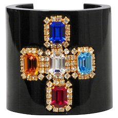 Chanel Jeweled Cross Cuff 1990's