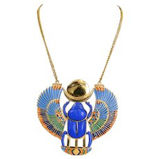 Thomas Fattorini Egyptian Revival Giant Scarab Necklace 1972