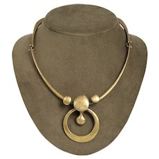Vintage Jack Boyd 1970's Bronze Circular Modernist Necklace