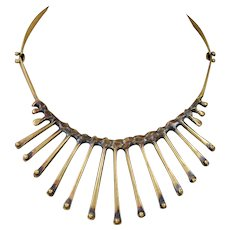 Vintage Jack Boyd 1970's Bronze Spore Collar Necklace