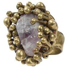 Vintage Pal Kepenyes 1970's Brutalist Bronze & Stone Ring