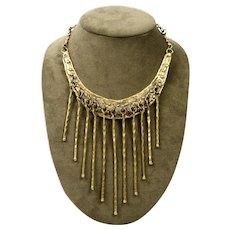 Vintage Pal Kepenyes 1970's Bronze Fringe Collar Necklace