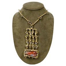 Vintage Pal Kepenyes 1970's Bronze & Jasper Modernist Necklace