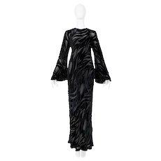 Vintage Halston 1977 Black Velvet Burnout Gown.