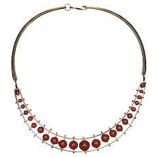 Vintage Jack Boyd 1970s Modernist Bronze Necklace with Carnelian Stones