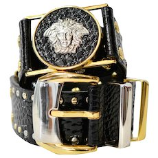 Vintage Gianni Versace 1990s Black Medusa Crocodile Studded Rock-n-Roll Belt