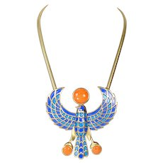 Trifari Egyptian Revival Phoenix Necklace