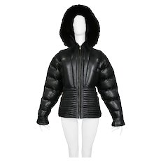 Versace Black Leather Puffer Jacket 1992