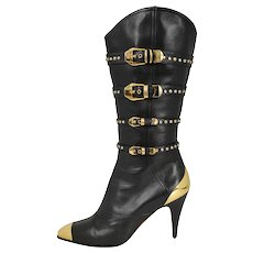 Versace Leather Studded Western Boots 1992