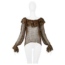 Vintage Yves Saint Laurent 1970's Metallic Dot Blouse