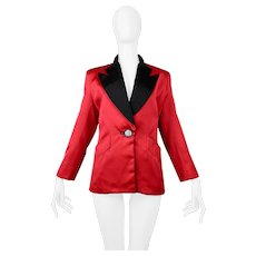 Vintage Yves Saint Laurent 1980's Red & Black Satin Tuxedo Jacket