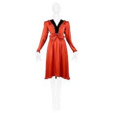Vintage Yves Saint Laurent 1980's Red Tuxedo Dress