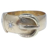 English Victorian 18k Gold and Diamond Buckle Ring