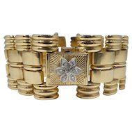 Retro 14k Gold & Diamond Watch Bracelet 42.6 DWT