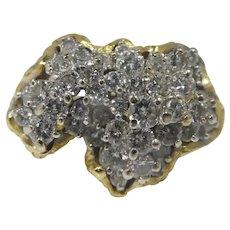 Brutalist 70's 18k Gold Diamond Cocktail Ring