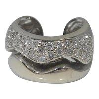 14k White Gold & Diamond Statement Ring