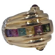 14k Gold Diamond and Tourmaline Cocktail Ring 9.1 dwt