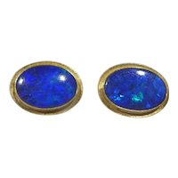 Vintage 14k Gold and Black Opal Earrings