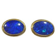Vintage 14k Gold and Black Opal Earrings