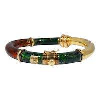 Fidia Gioielli 18k Gold & Tortoise Shell Enamel Bangle Bracelet