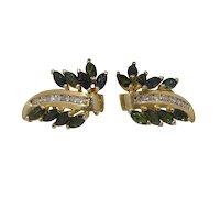 14k Gold, Diamond & Green Tsavorite Earrings