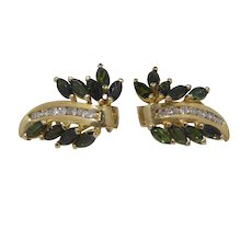 14k Gold, Diamond & Green Tsavorite Earrings