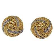 18k Gold Italian Gordian Knot Earrings