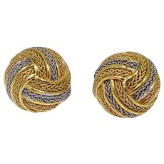 18k Gold Italian Gordian Knot Earrings