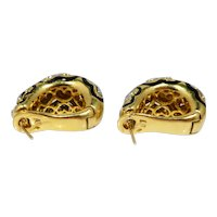 Italian 18k Gold, Enamel and Diamond Shell Earrings