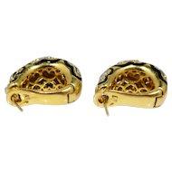 Italian 18k Gold, Enamel and Diamond Shell Earrings