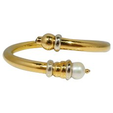 Italian 18k Gold, Pearl and Onyx Bangle Bracelet