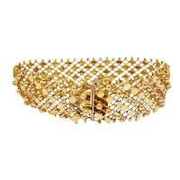 Vintage 18k Gold Middle Eastern Mesh Bracelet