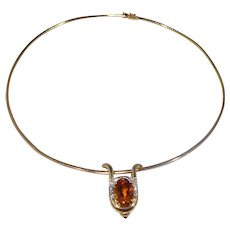 Italian 14k Gold Diamond and Topaz Choker Necklace