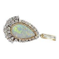 Vintage 18k Gold Diamond & Opal Pendant