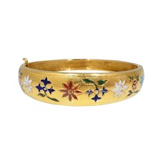 Vintage 22k Gold & Enamel Middle Eastern Bangle Bracelet