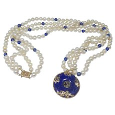 Vintage 14k Gold Double Strand Lapis and Pearl Oriental Themed Necklace