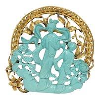 Retro Large 14k Gold Oriental Themed Turquoise Pendant