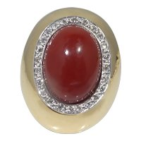 Vintage Large 14k Gold Coral and Diamond Ring