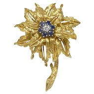 Vintage 18K Gold Diamond and Sapphire Flower Pin