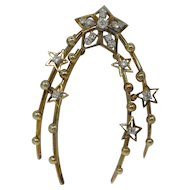 Vintage 14k Gold & Diamond Wishbone Pin