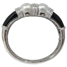 Art Deco Revival 18k Gold Diamond and Pearl Enamel Bracelet