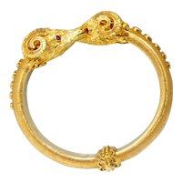 Vintage Zolotas 18k Gold Ruby Rams Head Bracelet