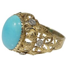Vinatge 18k Gold Persian Turquoise and Diamond Cocktail Ring