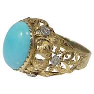 Vintage 18k Gold Persian Turquoise and Diamond Cocktail Ring