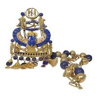 Stunning 18k Gold & Lapis Lazuli Egyptian Revival Necklace