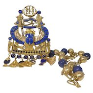 Stunning 18k Gold & Lapis Lazuli Egyptian Revival Necklace