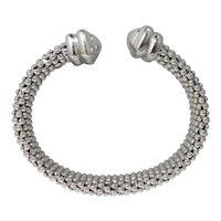 Contemporary 18k Gold Italian White Gold mesh Bangle Bracelet