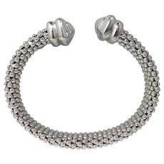 Contemporary 18k Gold Italian White Gold mesh Bangle Bracelet