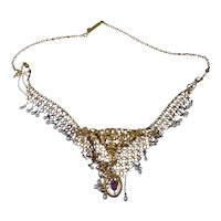 Victorian 14k Gold Seed Pearl and Pink Tourmaline Necklace