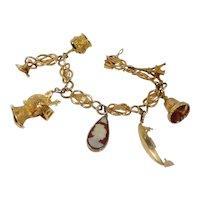 Vintage 18k Gold World Traveler Charm Bracelet